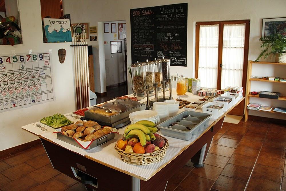 Surfcamp in Algarve breakfast table