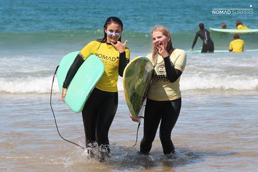 Surf School Teens Camp Lisbon friends after surf session