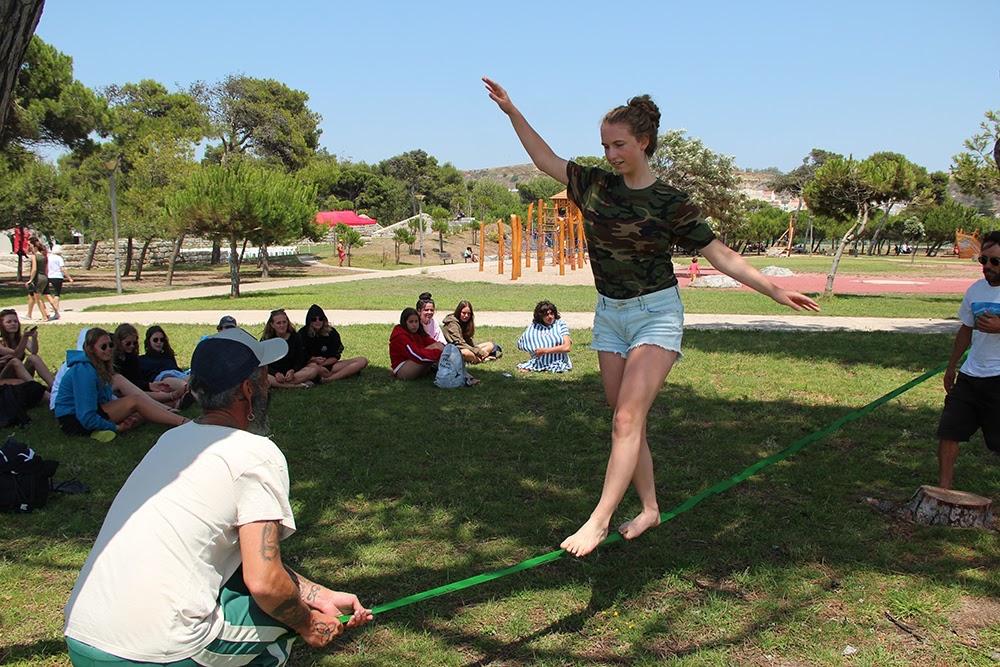 Surf School Teens Camp Lisbon Slack line