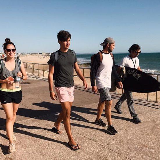 lisbon-surf-camp-cascais-surf students-on-the-coast