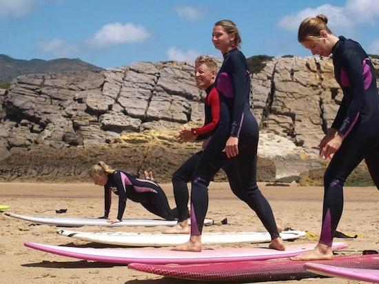 lisbon surf camp cascais- standing on board