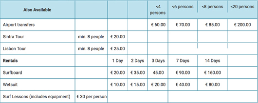 prices extra ericeira surf resort