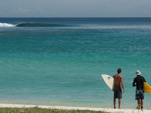 views of the perfect wave at the NomadTropical Surf Resort in Sumbawa