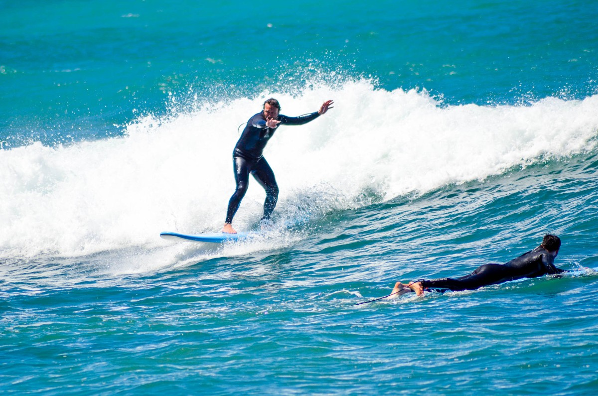 One of our students catching a wave