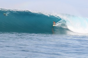 Surfing at Lance's left beach