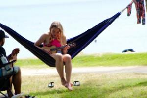 Hammocks at Oahu surf camp