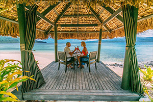 Dining by the beach in Fiji
