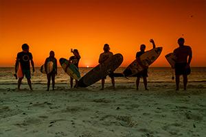 Sunset in surf resort in Madagascar